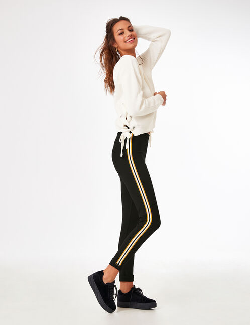 Black jeggings with side strip detail