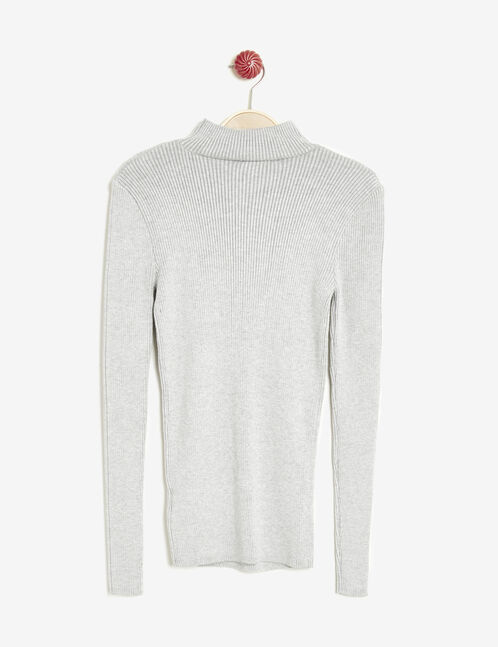 Grey marl lightweight ribbed jumper with high neck