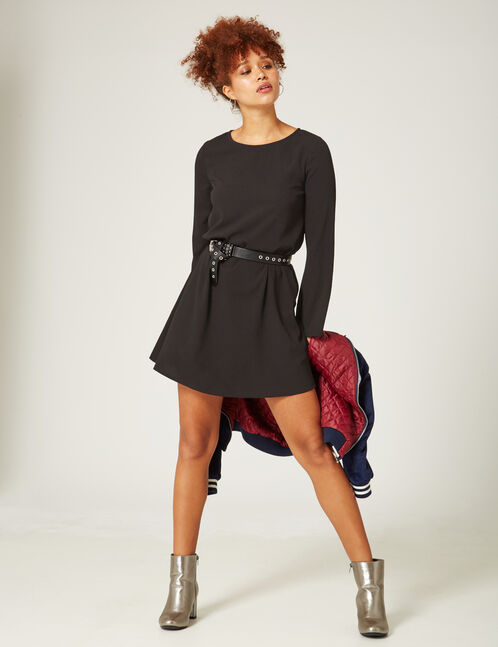 Black A-line dress with flared sleeves