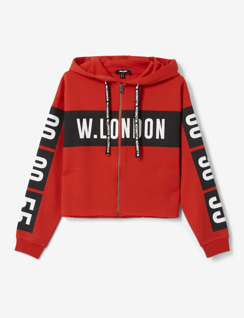 "Red ""London"" zip-up hoodie"