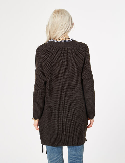 Long black cardigan with lacing detail