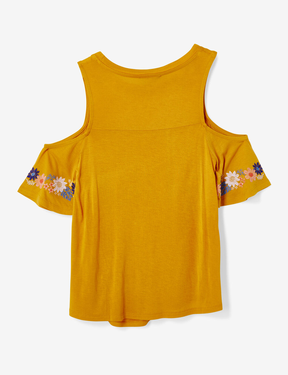 tee shirt avec broderies ocre femme jennyfer. Black Bedroom Furniture Sets. Home Design Ideas