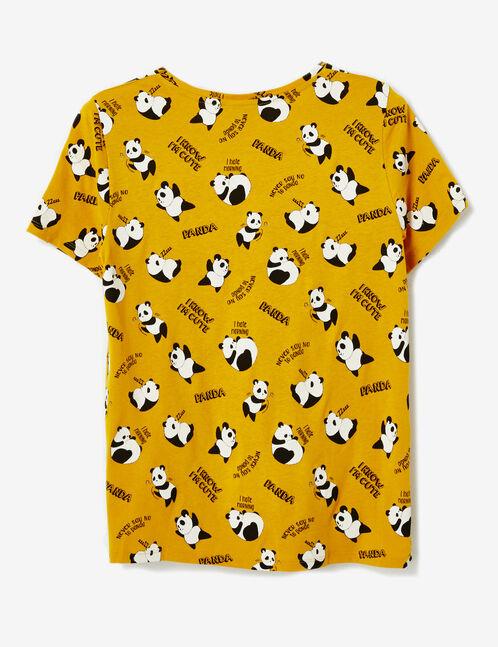 tee-shirt imprimé panda ocre