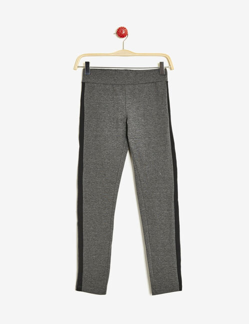 Charcoal grey leggings with stripe detail
