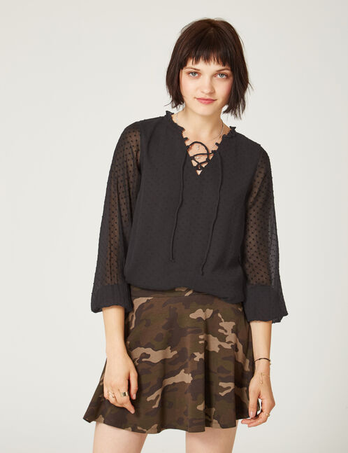Black dobby spot blouse with lacing detail
