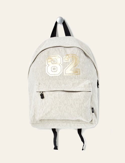 "Grey marl ""82"" print backpack"