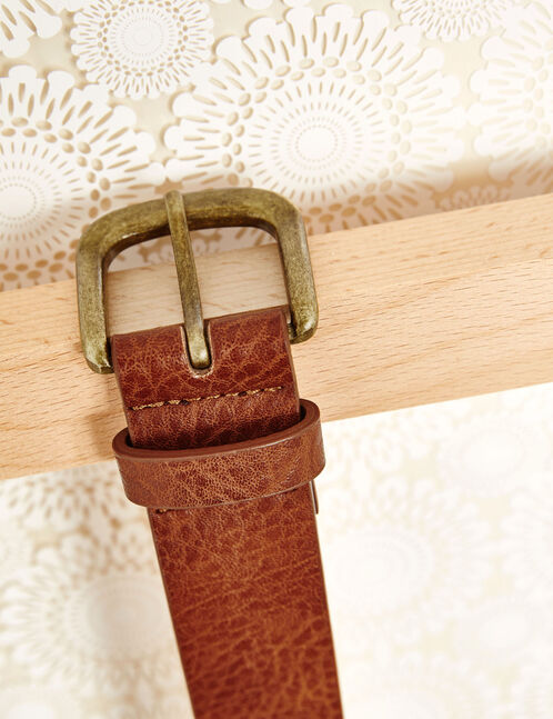 Camel faux leather belt