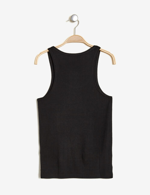 Basic black ribbed tank top