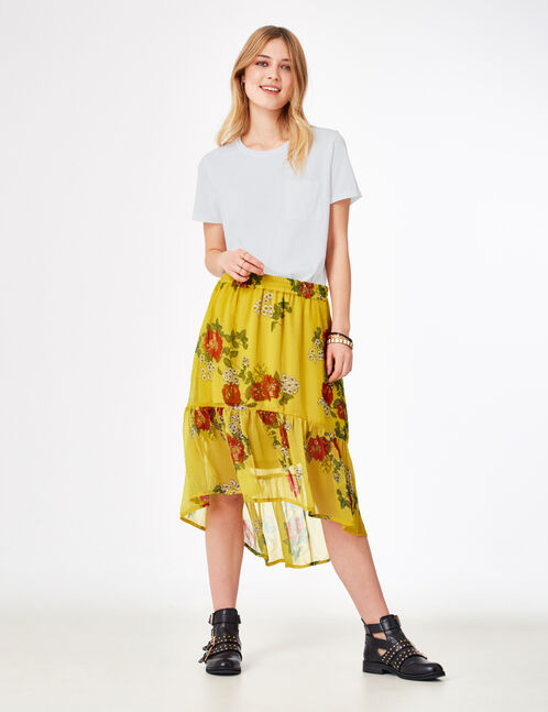 Yellow floral skirt with frill detail
