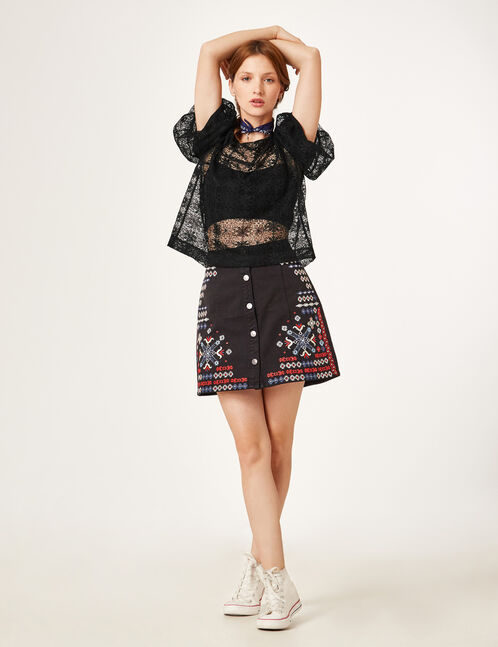 Black A-line skirt with embroidery detail