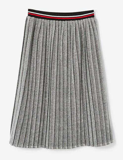 jupe plissée pailletée argentée