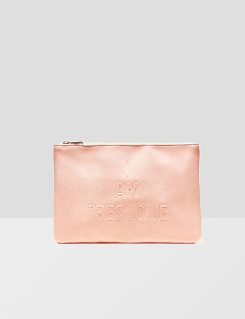 Light pink clutch with text design detail