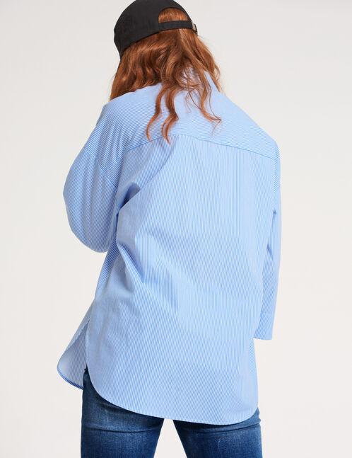 chemise rayé oversize bleu clair et blanche