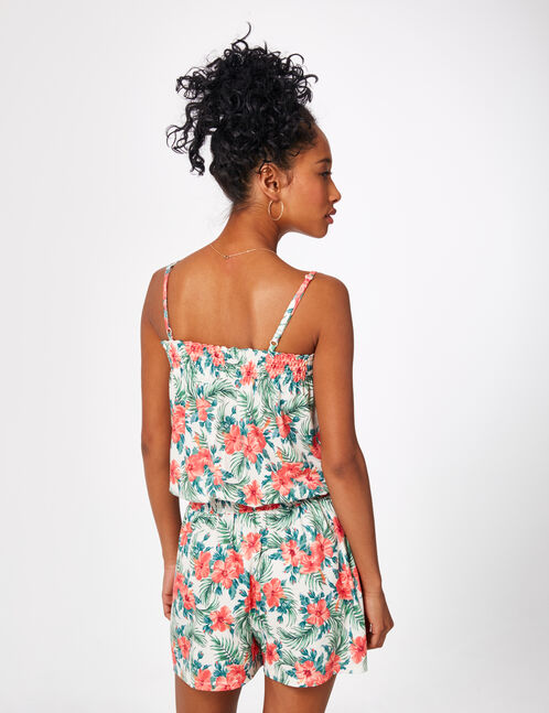 Cream playsuit with an orange and green floral print