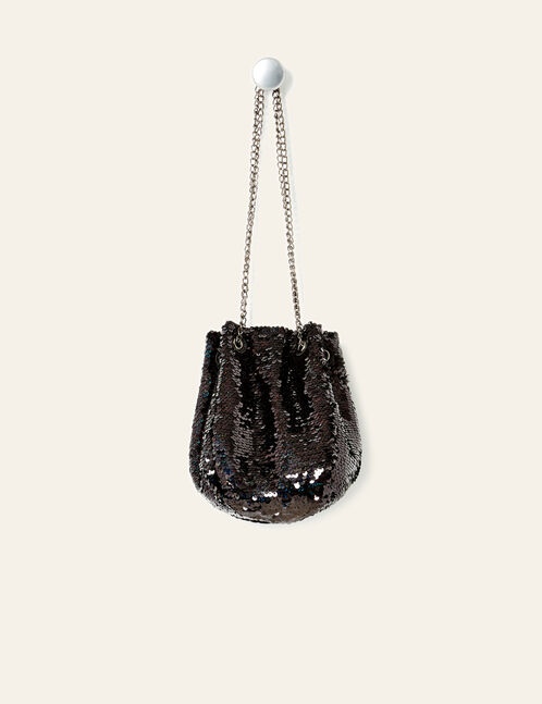 Black sequined drawstring bag