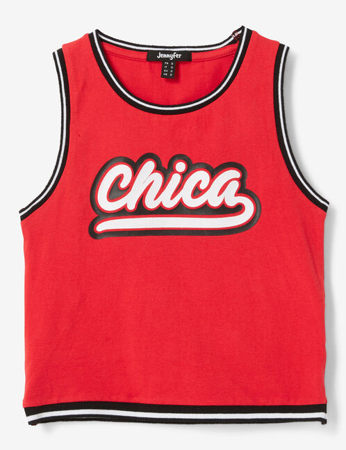 """Red """"chica"""" tank top"""