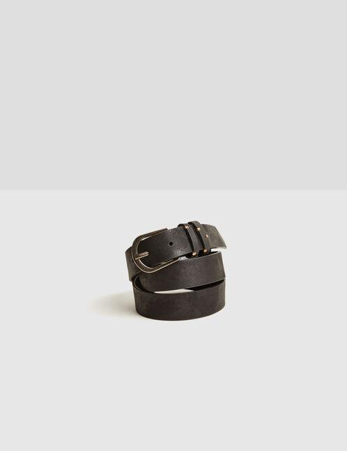 Black faux suede-effect belt