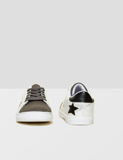 White, grey and black trainers with star detail