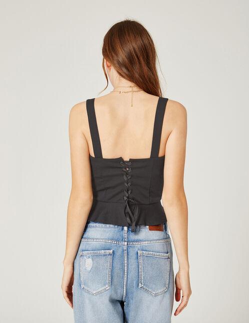Black corset-effect tank top