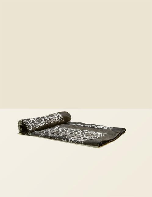 foulard imprimé cachemire noir et écru