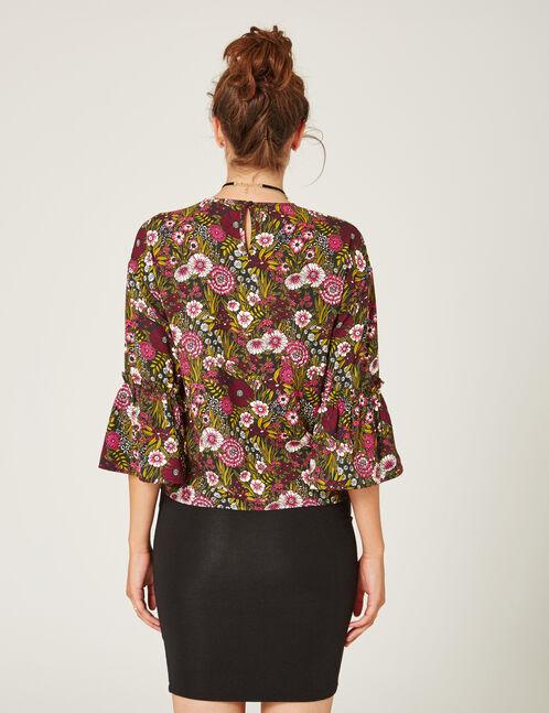 blouse imprimé fleuri kaki et rose