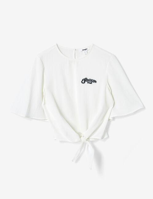 Cream tie-fastening blouse