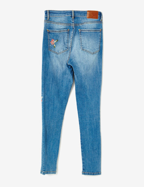 jean skinny brodé medium blue
