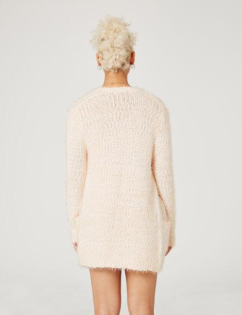 Cream and light pink popcorn knit cardigan