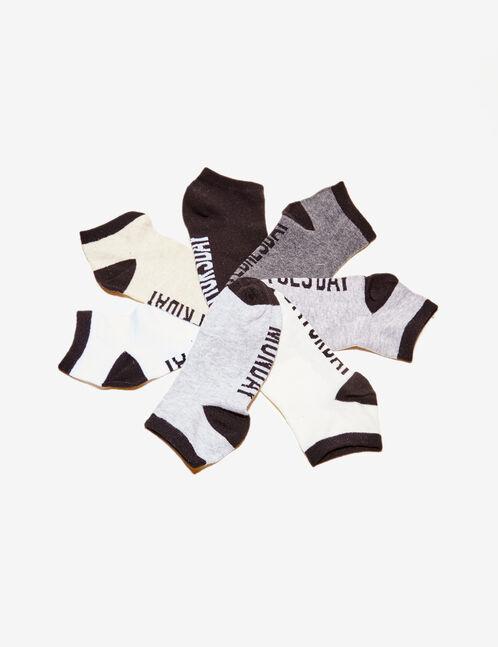 Black, grey and white text design socks