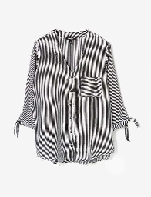 Cream and black striped deep-V shirt
