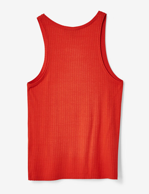 Basic red ribbed tank top