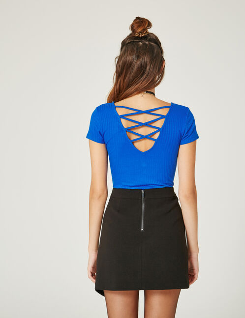 Electric blue deep-back top with strap detail