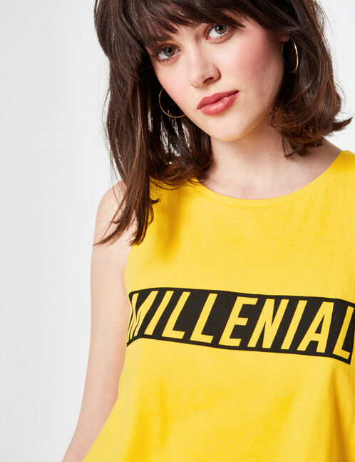 Yellow cropped tank top with text design detail