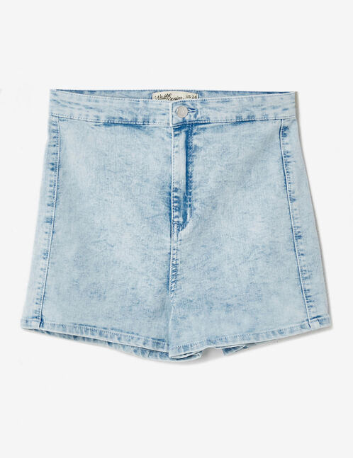 High-waisted bleached jegging shorts