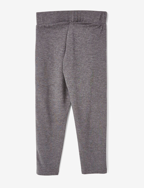 Charcoal grey marl cropped leggings with text design detail