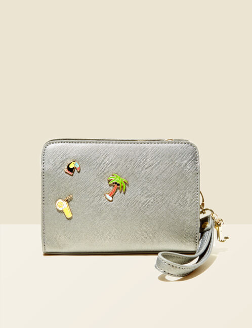 Small khaki textured bag with charm detail