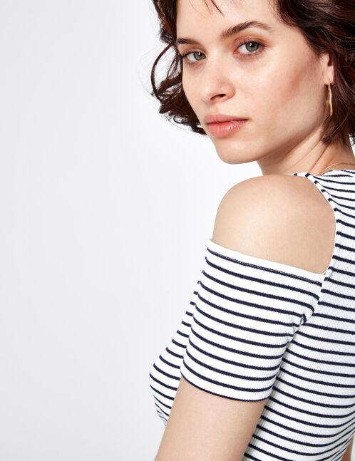 tee-shirt épaules ajourées rayé écru et bleu marine