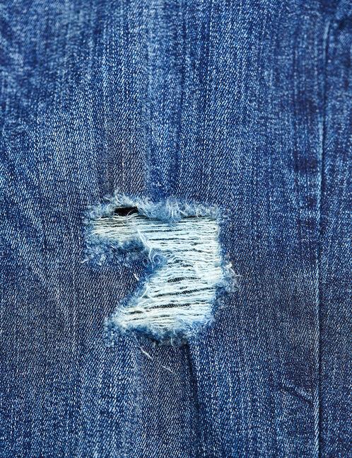 jean super skinny destroy brut délavé