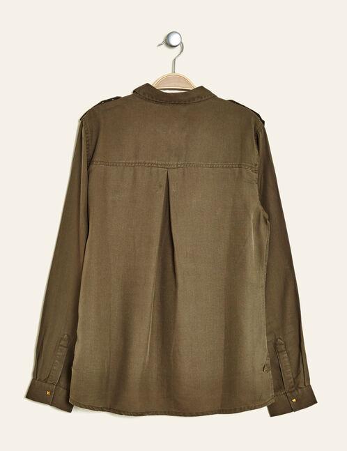 Khaki shirt with stud detail