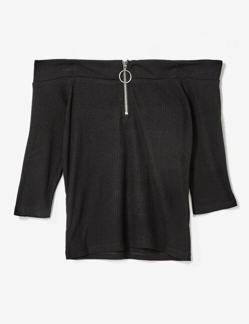 top épaules dénudées zippé noir
