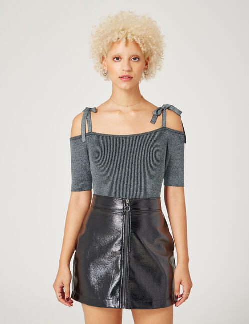 Charcoal grey cold shoulder top with lurex detail