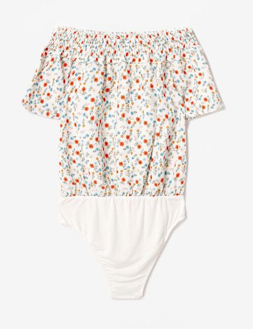 Cream floral bodysuit