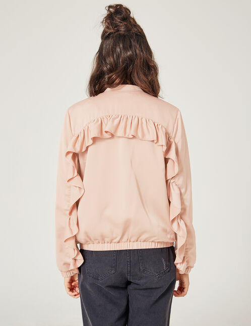 Light pink bomber jacket with frill detail
