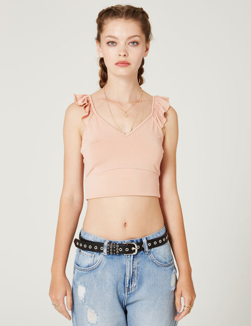 crop top bretelles à volants rose clair