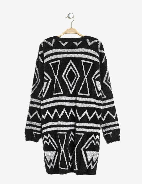 Black and cream mohair-effect longline cardigan