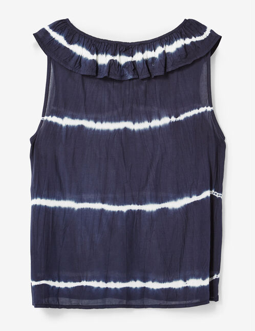 Navy blue tie-dye blouse with lacing detail