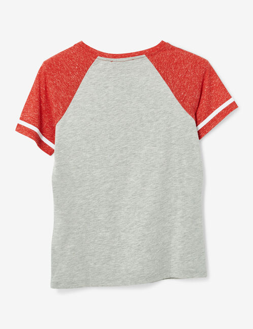 White and red marl two-tone T-shirt with text design detail