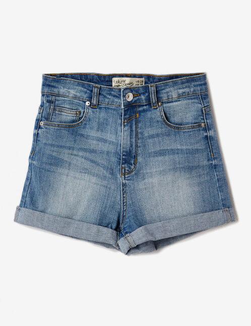 Light blue denim turn-up shorts