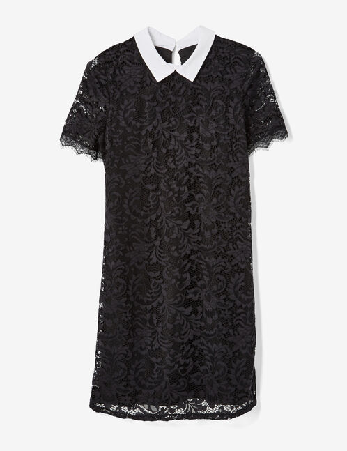 Black lace dress with white collar detail