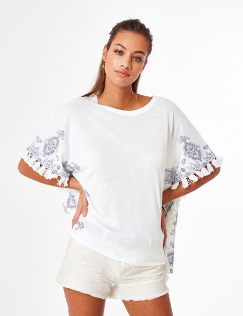Cream embroidered poncho top